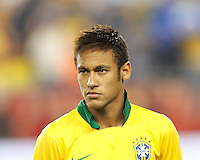 Brazil forward Neymar (10). In an international friendly, Brazil (yellow/blue) defeated Portugal (red), 3-1, at Gillette Stadium on September 10, 2013.