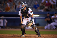 Connecticut Tigers catcher Shane Zeile (59) waits for a throw during the first game of a doubleheader against the Brooklyn Cyclones on September 2, 2015 at Senator Thomas J. Dodd Memorial Stadium in Norwich, Connecticut.  Brooklyn defeated Connecticut 7-1.  (Mike Janes/Four Seam Images)