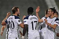 5th November 2020; RAZGRAD, BULGARIA; UEFA Europa League football, group stages;  Ludogorets Razgrad versus Tottenham Hotspur;  Harry Kane and Gareth Bale of Tottenham celebrate their goal