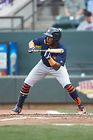 Ronnie Dawson (4) of the Buies Creek Astros squares to bunt against the Winston-Salem Dash at BB&T Ballpark on May 5, 2018 in Winston-Salem, North Carolina. The Dash defeated the Astros 6-2. (Brian Westerholt/Four Seam Images)