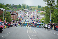 With 10km to go, the peloton is about to catch the breakaway group just ahead.<br /> Massive crowds came out to great them along the way.<br /> <br /> <br /> Giro d'Italia 2014<br /> stage 2: Belfast-Belfast <br /> 219km