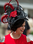 LOUISVILLE, KY - MAY 03: A woman wears a red and black hat on Thurby at Churchill Downs on May 3, 2018 in Louisville, Kentucky. (Photo by Scott Serio/Eclipse Sportswire/Getty Images)
