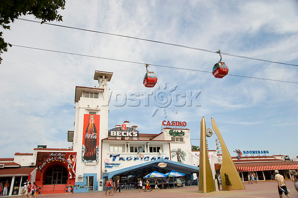 A cable car running above cafes in the Black Sea resort of Mamaia, Romania, Europe