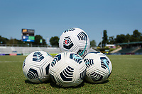 CARY, NC - SEPTEMBER 12: 2021 NWSL Nike soccer balls before a game between Portland Thorns FC and North Carolina Courage at WakeMed Soccer Park on September 12, 2021 in Cary, North Carolina.