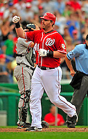 24 May 2009: Washington Nationals' first baseman Adam Dunn rounds the bases after hitting a Grand Slam against the Baltimore Orioles at Nationals Park in Washington, DC. Dunn hit two home runs for the day for 6 RBIs, including his Slam as the Nationals rallied to defeat the Orioles 8-5 and salvage one win of their interleague series. Mandatory Credit: Ed Wolfstein Photo