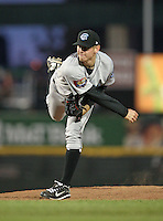 Syracuse Chiefs Starting Pitcher Stephen Strasburg (37) delivers a pitch during a game vs. the Rochester Red Wings Wednesday, May 19, 2010 at Frontier Field in Rochester, New York.   Syracuse defeated Rochester by the score of 5-1 as Strasburg earned his third win at the Triple-A level with no losses.  Photo By Mike Janes/Four Seam Images
