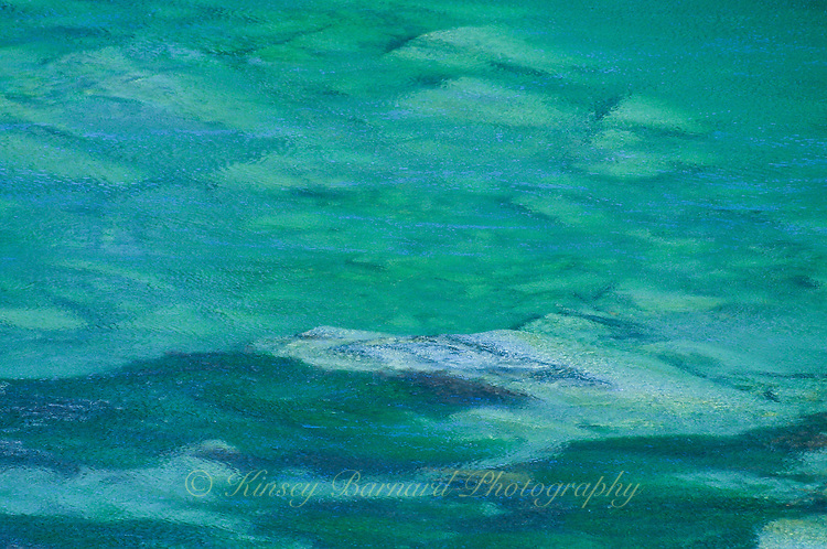 """""""RIVER REVELRY""""<br /> <br /> Water flowing over the rocks of the Flathead river bed but it looks more like a mountain range and green and blue clouds. A river in which to revel. ORIGINAL 24 X 36 GALLERY WRAPPED CANVAS SIGNED BY THE ARTIST $2,500. CONTACT FOR AVAILABILITY."""