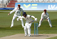 15th April 2021; Emirates Old Trafford, Manchester, Lancashire, England; English County Cricket, Lancashire versus Northants; Josh Bohannon of Lancashire survives an lbw appeal off the bowling of Nathan Buck of Northamptonshire
