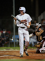 Sarasota Sailors Kyle Manitz (21) bats during a game against the Riverview Rams on February 19, 2021 at Rams Baseball Complex in Sarasota, Florida. (Mike Janes/Four Seam Images)