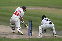 Glamorgan batsman, Chris Cooke in batting action as Sussex wicketkeeper, Ben Brown looks on during Sussex CCC vs Glamorgan CCC, LV Insurance County Championship Group 3 Cricket at The 1st Central County Ground on 5th July 2021