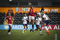 10th October 2020, The Hive, Canons Park, Harrow, England; Alessia Russo  Manchester United cannot reach the ball during for womens Super League game between Tottenham Hotspur and Manchester United