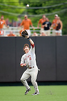 Secondbaseman Cale Ellis #2 of the Oklahoma Sooners makes a catch against the Texas Longhorns in NCAA Big XII baseball on May 1, 2011 at Disch Falk Field in Austin, Texas. (Photo by Andrew Woolley / Four Seam Images)