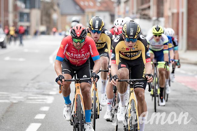 eventual race winner Wout van Aert (BEL/Jumbo-Visma) leading the lead group at the 83rd Gent-Wevelgem - in Flanders Fields (ME - 1.UWT)<br /> <br /> 1 day race from Ieper to Wevelgem (BEL): 254km<br /> <br /> ©kramon