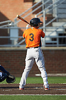 Cole Billingsley (3) of the Frederick Keys at bat against the Buies Creek Astros at Jim Perry Stadium on April 28, 2018 in Buies Creek, North Carolina. The Astros defeated the Keys 9-4.  (Brian Westerholt/Four Seam Images)