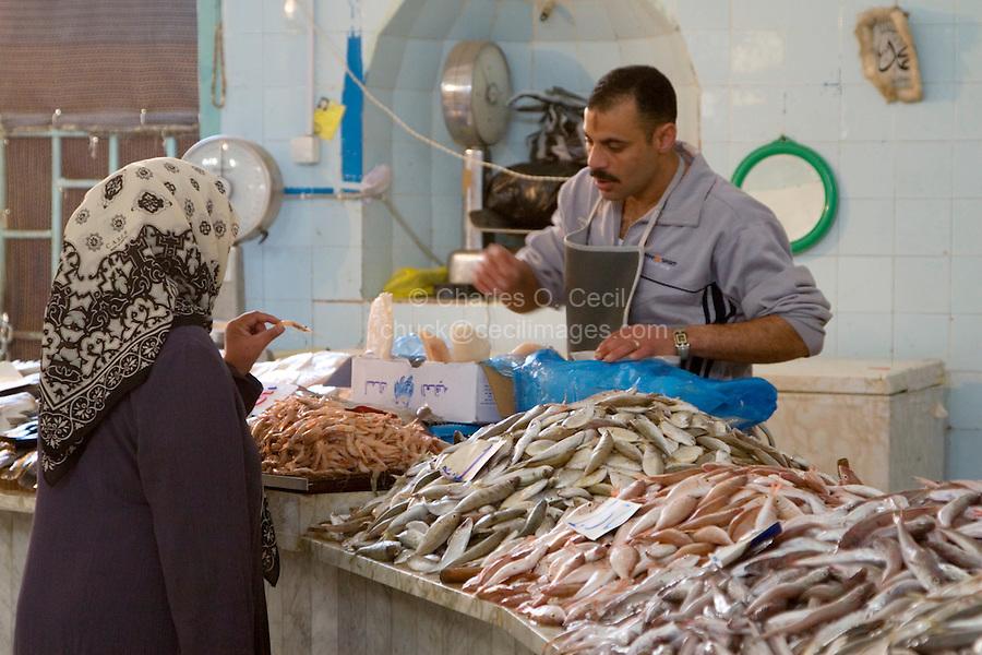 Tripoli, Libya - Discussing Shrimp Before a Purchase, Fish Market, Rashid Street