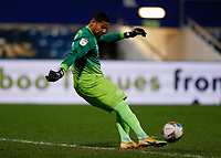17th February 2021; The Kiyan Prince Foundation Stadium, London, England; English Football League Championship Football, Queen Park Rangers versus Brentford; Goalkeeper Seny Dieng of Queens Park Rangers taking a goal kick