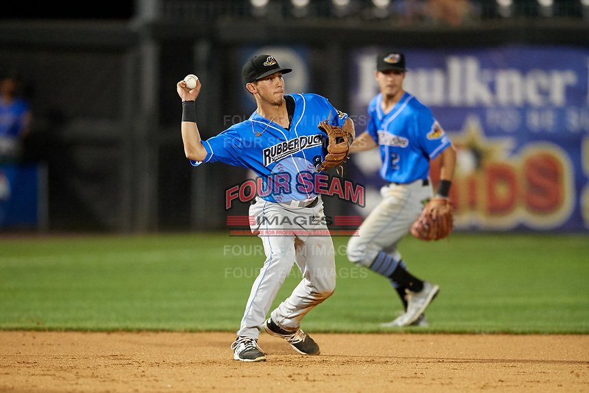 Akron RubberDucks third baseman Sam Haggerty (8) throws to second base to record an out on a fielder's choice as Ernie Clement (2) backs up the play during a game against the Harrisburg Senators on August 18, 2018 at FNB Field in Harrisburg, Pennsylvania.  Akron defeated Harrisburg 5-1.  (Mike Janes/Four Seam Images)
