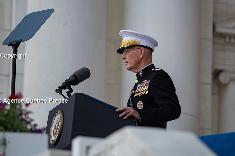 The 19th Chairman of the Joint Chiefs of Staff U.S. Marine Corps Gen. Joseph Dunford speaks during the National Memorial Day Observance at Arlington National Cemetery, Arlington, Virginia, May 27, 2019. This was the 151st Memorial Day wreath-laying and observance ceremony at Arlington National Cemetery, conducted by U.S. Vice President Mike Pence. (U.S. Army photo by Elizabeth Fraser / Arlington National Cemetery / released)