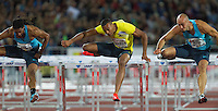 22 AUG 2013 - STOCKHOLM, SWE - Will Sharman (centre) of Great Britain clears a hurdles during the men's 110m hurdles race at the DN Galen meet of the 2013 Diamond League in the Stockholm Olympic Stadium in Stockholm, Sweden (PHOTO COPYRIGHT © 2013 NIGEL FARROW, ALL RIGHTS RESERVED)