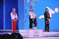 OLYMPICS: SOCHI: Medal Plaza, 12-02-2014, medaille uitreiking, 500m Ladies, Olga Fatkulina (RUS), Sang-Hwa Lee (KOR), Margot Boer (NED), ©foto Martin de Jong