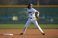 Central Cabarrus Vikings shortstop Jake Rowden (1) takes infield prior to the game against the Carson Cougars at Central Cabarrus High School on March 16, 2018 in Concord, North Carolina.  The Cougars defeated the Vikings 9-1.  (Brian Westerholt/Four Seam Images)