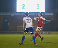 Fleetwood Town's Markus Schwabl (right)  watched by Bury's Tsun Dai (left) during the The Checkatrade Trophy match between Bury and Fleetwood Town at Gigg Lane, Bury, England on 9 January 2018. Photo by Juel Miah/PRiME Media Images.