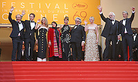 (From L to R) Jury members Arnaud Desplechin, Laszlo Nemes, Vanessa Paradis, Katayoon Shahabi, Valeria Golino, George Miller, Kirsten Dunst, Donald Sutherland and Mads Mikkelsen arrive on the steps of the Palais des Festivals before the closing ceremony of the 69th annual Cannes International Film Festival in Cannes, France on May 22, 2016. Photo by David Silpa/UPI