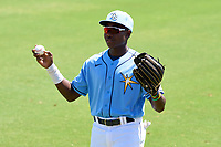 FCL Rays outfielder Yonathan Pierre (90) during warmups before a game against the FCL Twins on July 20, 2021 at Charlotte Sports Park in Port Charlotte, Florida.  (Mike Janes/Four Seam Images)