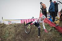 Martina Mikulaskova (CZE) crashing in pink ski gloves...<br /> <br /> 2016 CX UCI World Cup Zeven (DEU)