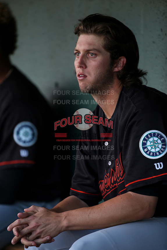 Tyler Pike (32) of the Bakersfield Blaze in the dugout during a game against the Lancaster JetHawks at The Hanger on June 18, 2016 in Lancaster, California. Bakersfield defeated Lancaster, 10-7. (Larry Goren/Four Seam Images)