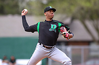 Dayton Dragons starting pitcher Hunter Greene (3) delivers a pitch during a game against the Burlington Bees on May 3, 2018 at Community Field in Burlington, Iowa.  Dayton defeated Burlington 8-4.  (Travis Berg/Four Seam Images)