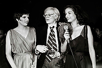 Minelli Jagger Warhol6871.JPG<br /> New York, NY 1978 FILE PHOTO<br /> Liza Minelli, Bianca Jagger, Andy Warhol<br /> Studio 54<br /> Digital photo by Adam Scull-PHOTOlink.net<br /> ONE TIME REPRODUCTION RIGHTS ONLY<br /> NO WEBSITE USE WITHOUT AGREEMENT<br /> 718-487-4334-OFFICE  718-374-3733-FAX
