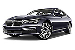 Stock pictures of low aggressive front three quarter view of 2016 BMW 7 Series 740i 4 Door Sedan Low Aggressive
