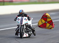 Aug 31, 2019; Clermont, IN, USA; NHRA nitro top fuel Harley Davidson motorcycle rider Rickey House during qualifying for the US Nationals at Lucas Oil Raceway. Mandatory Credit: Mark J. Rebilas-USA TODAY Sports