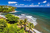 An aerial view of Honoli'i Beach Park and Bay, Hilo, Big Island of Hawai'i.