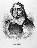 """FILE IMAGE - Samuel Champlain ( 1574 - 1635) The Father of New France"""", was a French navigator, cartographer, draughtsman, soldier, explorer, geographer, ethnologist, diplomat, and chronicler.<br /> <br /> Drawing by Ronjat"""