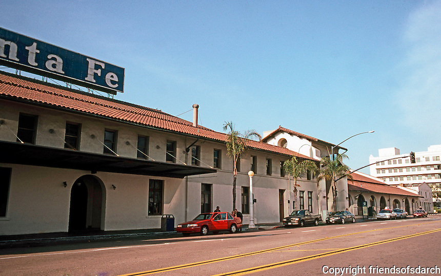 Mission RR Stations: Santa Fe Depot Baggage Building, San Diego, 1915. Bakewell & Brown. Photo '03.