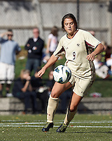 Boston College forward Stephanie McCaffrey (9) controls the ball..After two overtime periods, Boston College (gold) tied University of Miami (orange), 0-0, at Newton Campus Field, October 21, 2012.