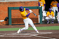LSU Tigers right fielder Dylan Crews (3) at bat against the Tennessee Volunteers on Robert M. Lindsay Field at Lindsey Nelson Stadium on March 28, 2021, in Knoxville, Tennessee. (Danny Parker/Four Seam Images)