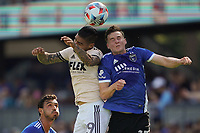 SAN JOSE, CA - AUGUST 8: Cristian Arango #29 of Los Angeles FC goes up for a header with Tanner Beason #15 of the San Jose Earthquakes during a game between Los Angeles FC and San Jose Earthquakes at PayPal Park on August 8, 2021 in San Jose, California.