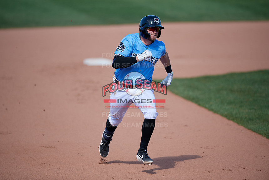 Erie SeaWolves Kody Eaves (22) running the bases after hitting a triple during an Eastern League game against the Akron RubberDucks on June 2, 2019 at UPMC Park in Erie, Pennsylvania.  Erie defeated Akron 8-5 in eleven innings in the second game of a doubleheader.  (Mike Janes/Four Seam Images)