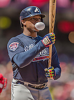 6 April 2014: Atlanta Braves left fielder Justin Upton blows a bubble at the plate during game action against the Washington Nationals at Nationals Park in Washington, DC. The Nationals defeated the Braves 2-1 to salvage the last game of their 3-game series. Mandatory Credit: Ed Wolfstein Photo *** RAW (NEF) Image File Available ***