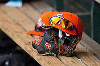 A Sam Houston State Bearkats hat sits on the bench in the dugout during the game against the Texas Christian Horned Frogs at Minute Maid Park on February 28, 2014 in Houston, Texas.  The Bearkats defeated the Horned Frogs 9-4.  (Brian Westerholt/Four Seam Images)