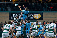 Theo Vukasinovic of London Scottish wins the line out during the Greene King IPA Championship match between Ealing Trailfinders and London Scottish Football Club at Castle Bar , West Ealing , England  on 19 January 2019. Photo by Carlton Myrie/PRiME Media Images