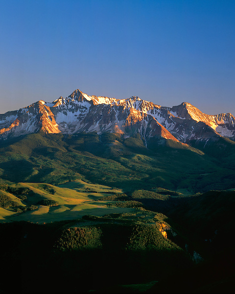 Wilson Peak at sunrise in summer, Telluride, Colorado, USA .  John leads private photo tours in Telluride and the San Juan Mountains. Year-round Colorado photo tours.