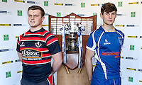 SCHOOLS CUP DRAW 2016 | Monday 16th November 2015<br /> <br /> Lurgan College captain Harry Simpson and Portadown College captain Michael Orr at the 2016 Ulster Schools Cup draw at Kingspan Stadium, Ravenhill Park, Belfast, Northern Ireland.<br /> <br /> Photo credit: John Dickson / DICKSONDIGITAL
