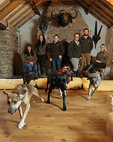 FAO JANET TOMLINSON, DAILY MAIL PICTURE DESK<br /> Pictured: Members of staff with<br /> some of the dogs they are looking after in the Training Barn Monday 14 November 2016<br /> Re: The Dog House in the village of Talog, Carmarthenshire, Wales, UK