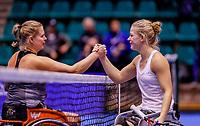 Rotterdam, Netherlands, December 15, 2017, Topsportcentrum, Ned. Loterij NK Tennis, Wheelchair woman's single semi final Diede de Groot (NED) (R) defeats Michaela Spaanstra<br /> Photo: Tennisimages/Henk Koster