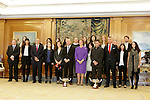 """Queen Sofia of Spain attends an audience receiving to the female hockey team """"Club Patín Gijón Solimar"""", winner of the Queen Cup at Zarzuela Palace in Madrid, Spain. (ALTERPHOTOS/Victor Blanco)"""