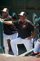 Bowie Baysox manager Gary Kendall (35) during a game against the Reading Fightin Phils on July 22, 2015 at Prince George's Stadium in Bowie, Maryland.  Bowie defeated Reading 6-4.  (Mike Janes/Four Seam Images)